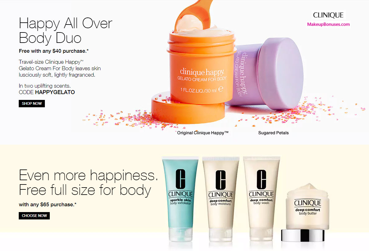 Receive your choice of 3-pc gift with your $65 Clinique purchase