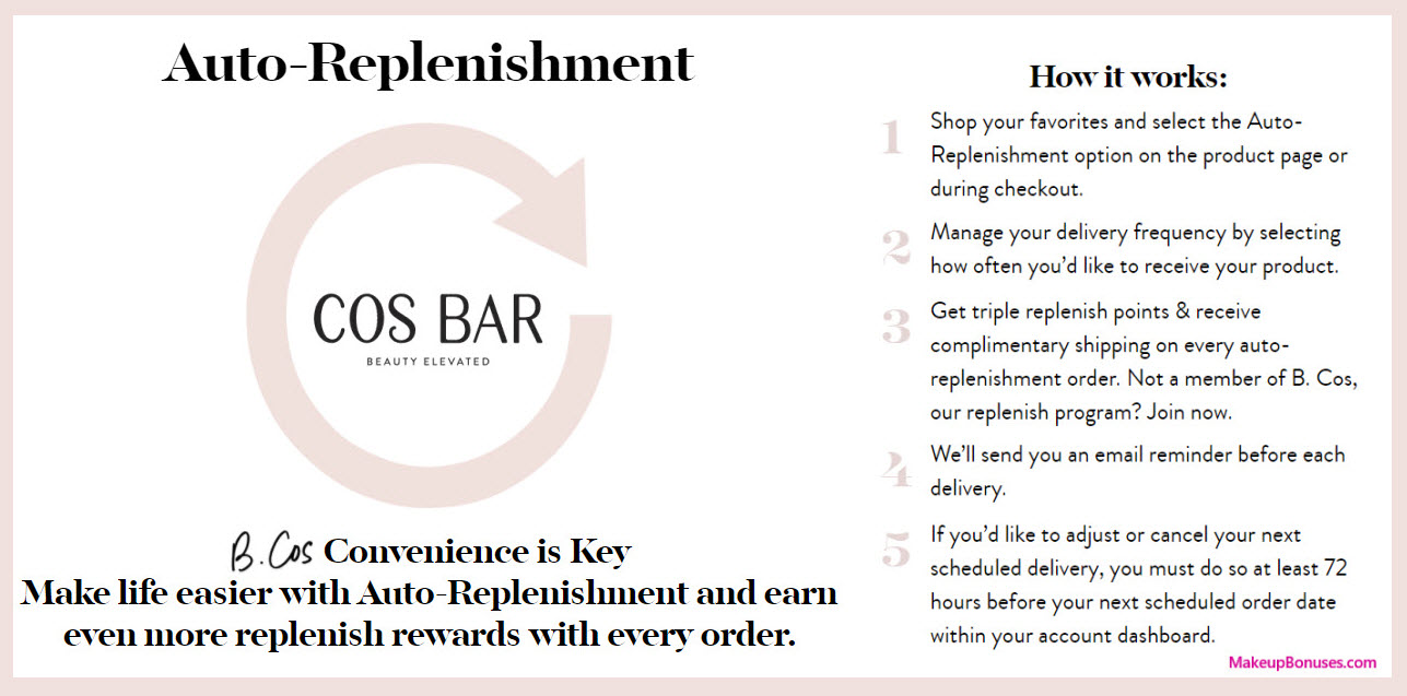 Cos Bar Auto-Replenishment Service - MakeupBonuses.com