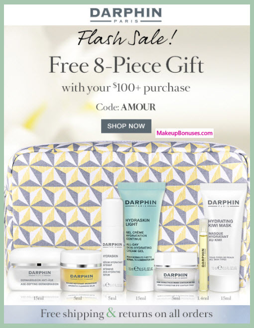 Receive a free 8-pc gift with your $100 Darphin purchase