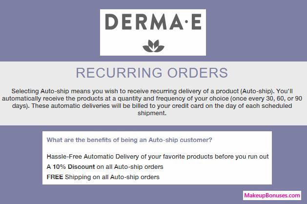Derma E Auto Delivery Service - MakeupBonuses.com