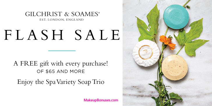 Receive a free 3-pc gift with your $65 Gilchrist & Soames purchase