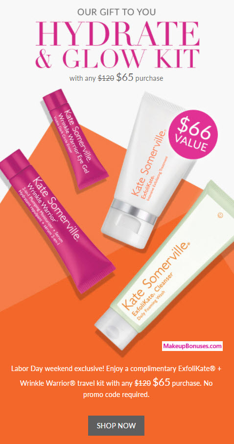 Receive a free 4-pc gift with your $65 Kate Somerville purchase