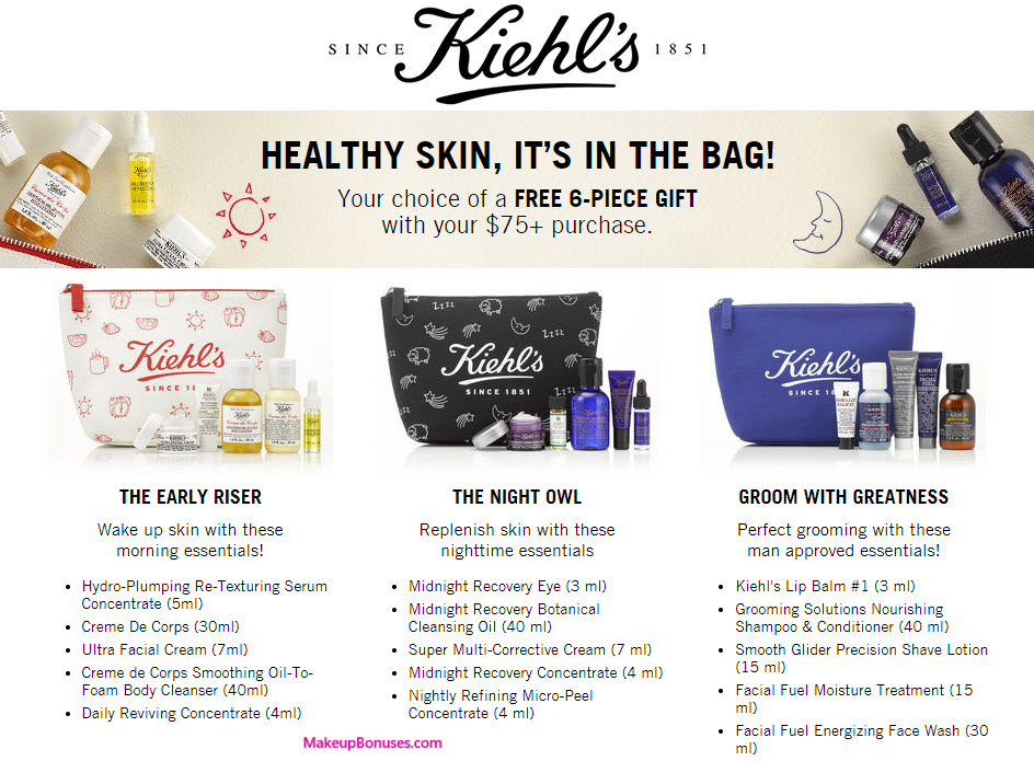 Receive your choice of 6-pc gift with your $75 Kiehl's purchase