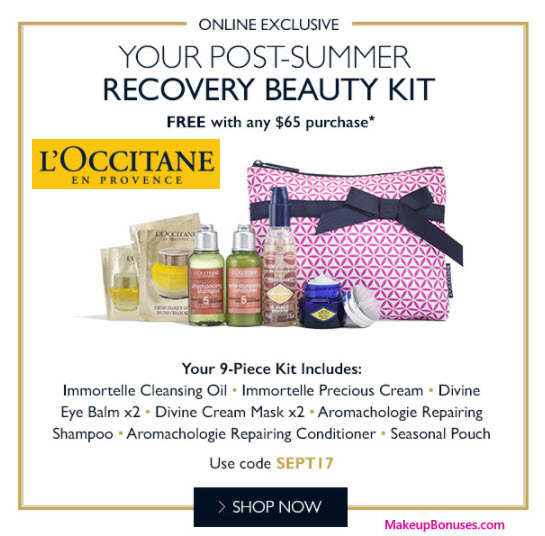 Receive a free 9-pc gift with your $65 L'Occitane purchase