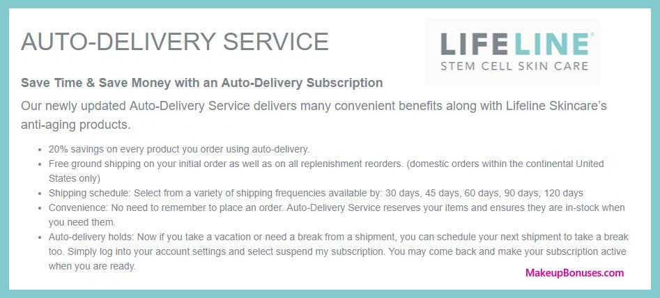 Lifeline Skincare Auto Delivery Service - MakeupBonuses.com