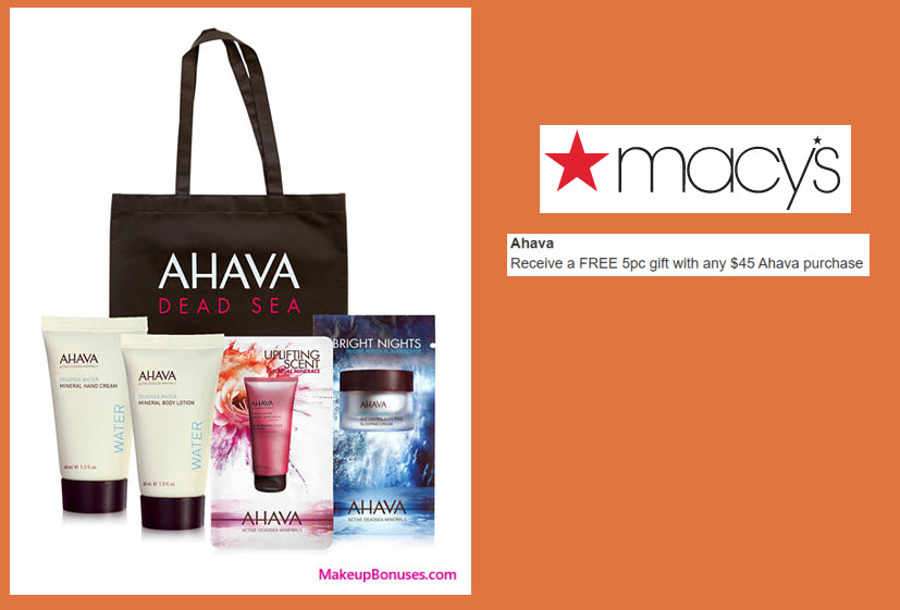 Receive a free 5-pc gift with your $45 AHAVA purchase