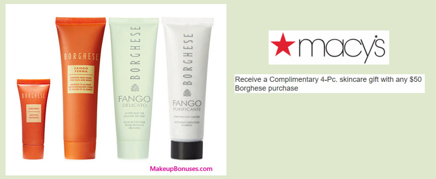 Receive a free 4-pc gift with your $50 Borghese purchase