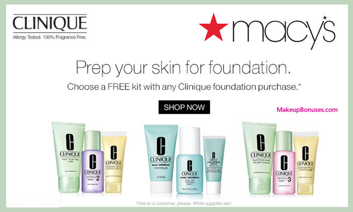 Receive a free 3-pc gift with your Clinique Foundation purchase