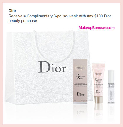 Receive a free 3-pc gift with your $100 Dior Beauty purchase