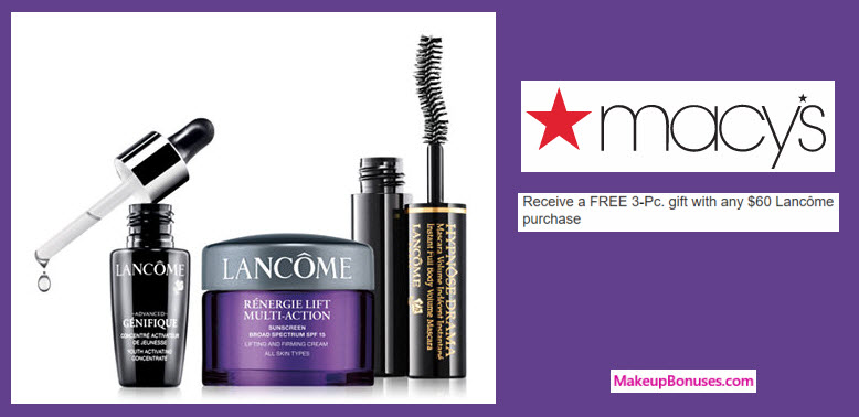 Receive a free 3-pc gift with your $60 Lancôme purchase