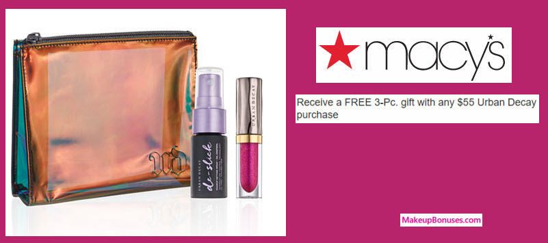 Receive a free 3-pc gift with your $55 Urban Decay purchase