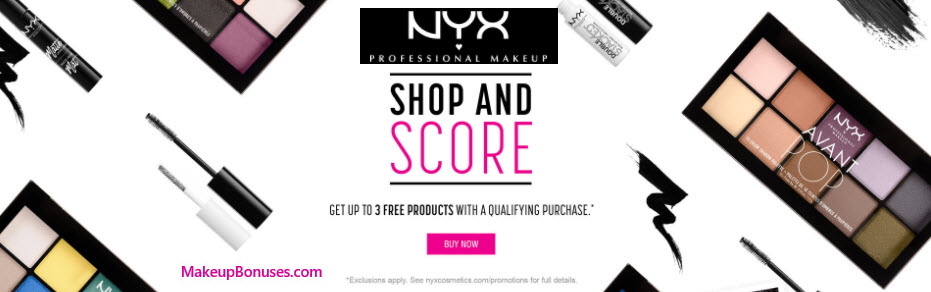 Receive a free 3-pc gift with your $65 NYX Cosmetics purchase