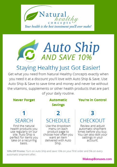 Natural Healthy Concepts Auto Delivery Service - MakeupBonuses.com