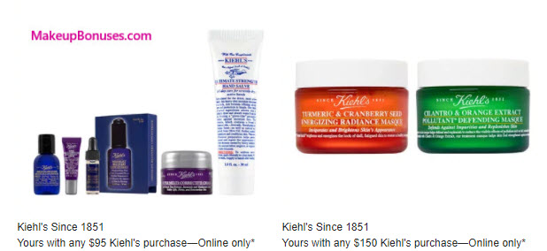 Receive a free 5-pc gift with your $95 Kiehl's purchase