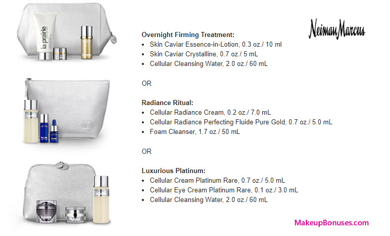 Receive your choice of 4-pc gift with your $400 La Prairie purchase