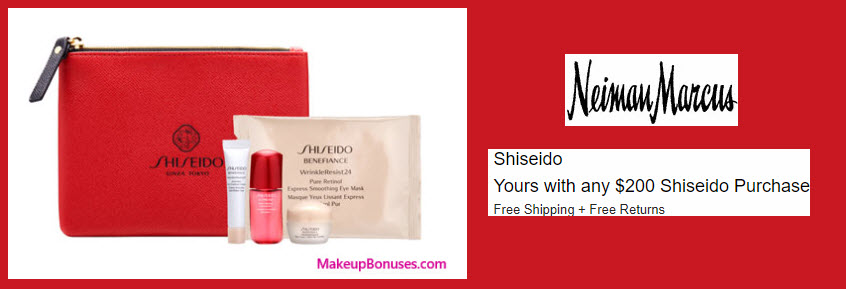 Receive a free 5-pc gift with your $200 Shiseido purchase