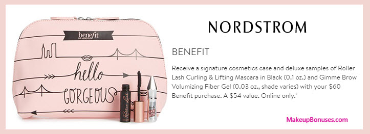 Receive a free 3-pc gift with your $60 Benefit Cosmetics purchase