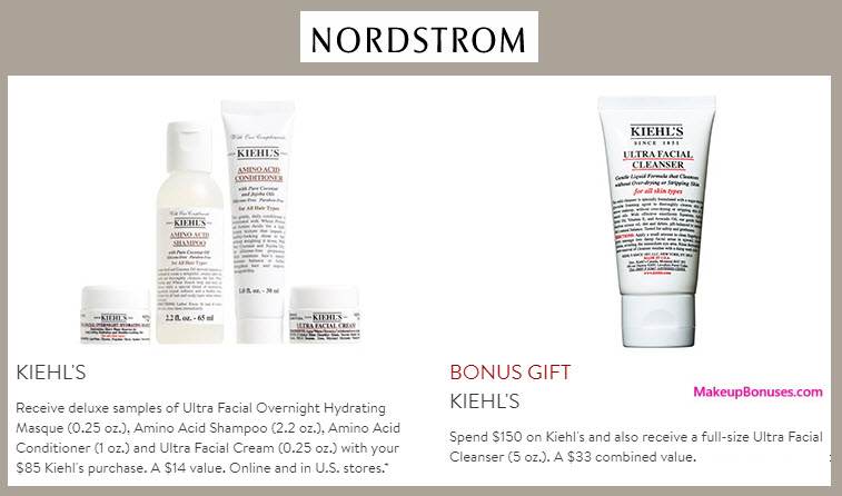 Receive a free 4-pc gift with your $85 Kiehl's purchase