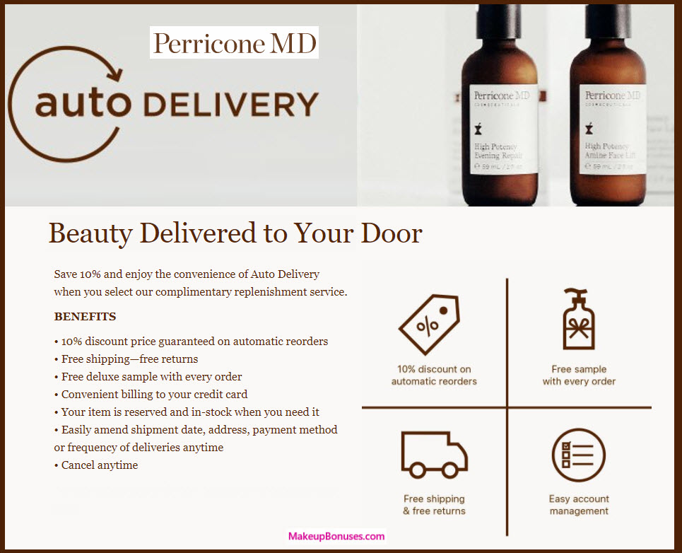 Perricone MD Auto Delivery Service - MakeupBonuses.com