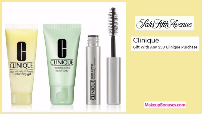 Receive a free 3-pc gift with your $50 Clinique purchase