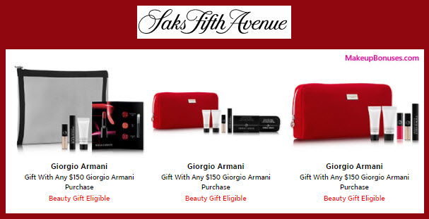 Receive a free 5-pc gift with your $150 Giorgio Armani purchase