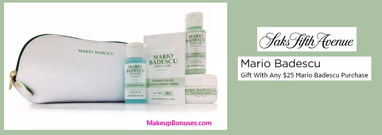 Receive a free 5-pc gift with your $25 Mario Badescu purchase