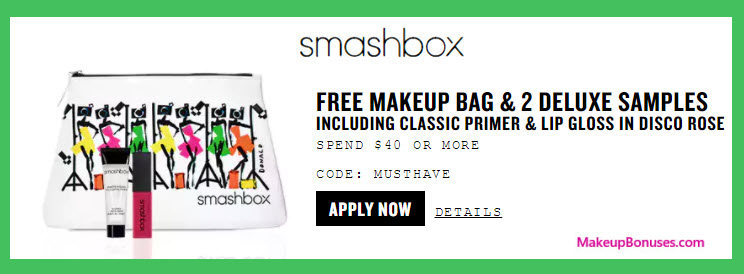 Receive a free 3-pc gift with your $40 Smashbox purchase