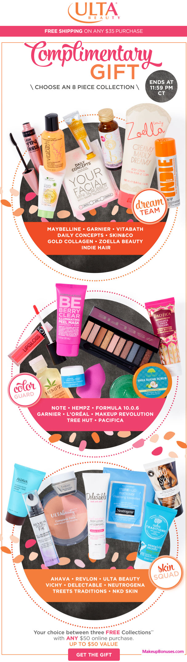 Receive a free 8-pc gift with your $50 Multi-Brand purchase