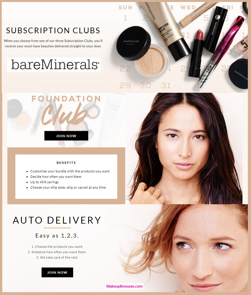 bareMinerals Auto Delivery Service - MakeupBonuses.com