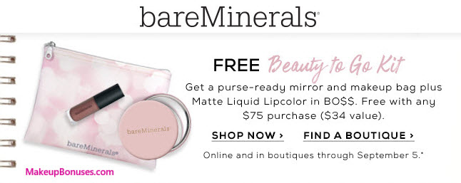 bareMinerals 3pc Free Gift with Purchase - MakeupBonuses.com