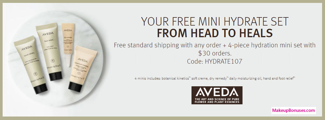 Receive a free 4-pc gift with your $30 Aveda purchase