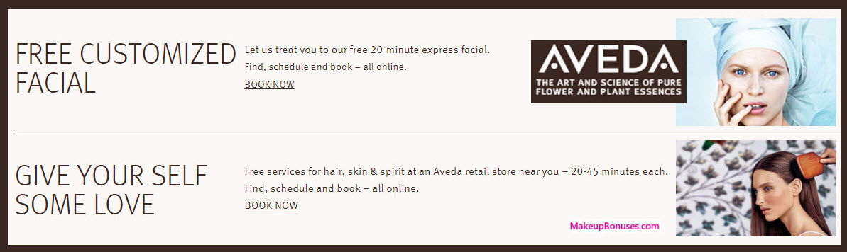 Aveda Beauty Svs - Free Facials, Makeup, & More - MakeupBonuses.com