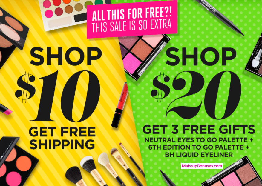 Receive a free 3-pc gift with your $20 BH Cosmetics purchase