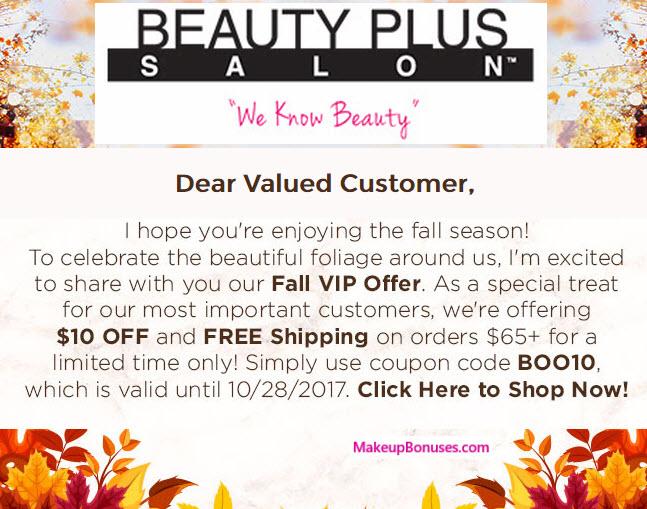 Beauty Plus Salon Sale - MakeupBonuses.com