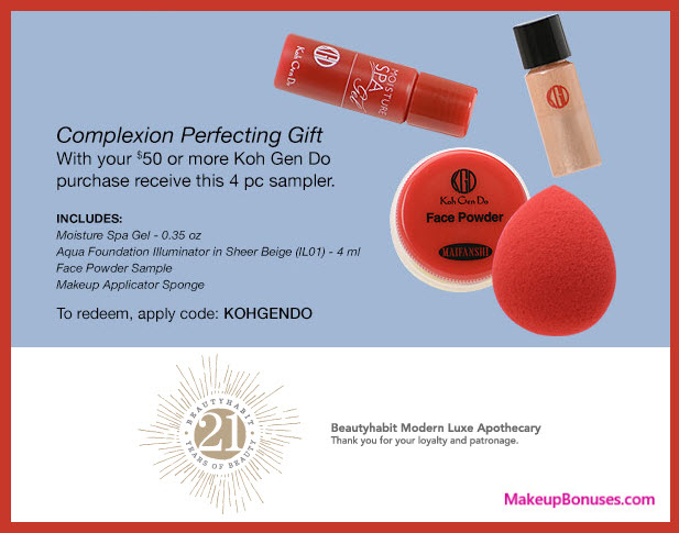 Receive a free 4-pc gift with your $50 Koh Gen Do purchase