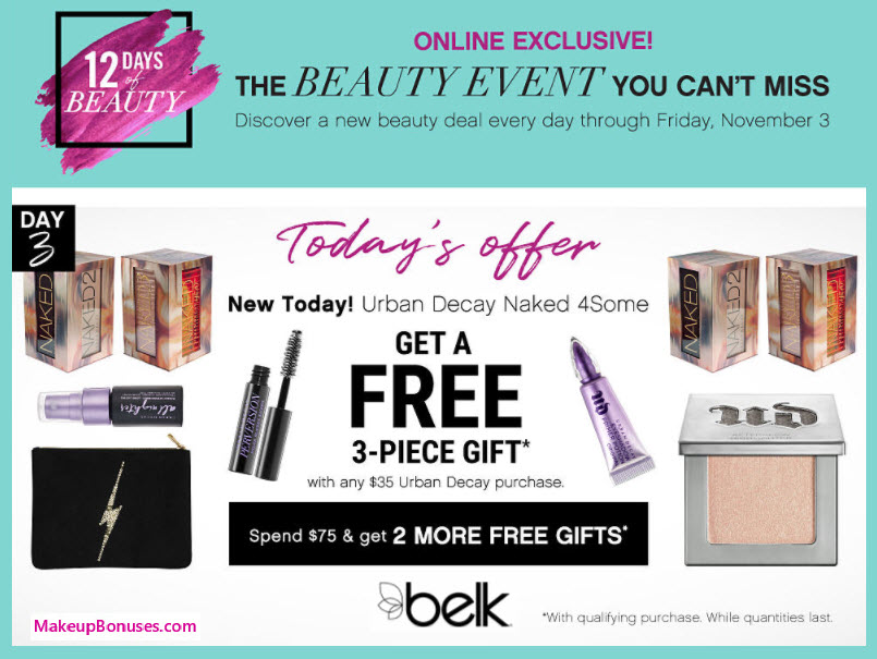 Receive a free 3-pc gift with your $35 Urban Decay purchase