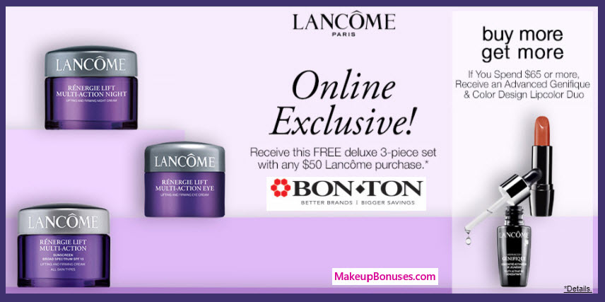 Receive a free 3-pc gift with your $50 Lancôme purchase