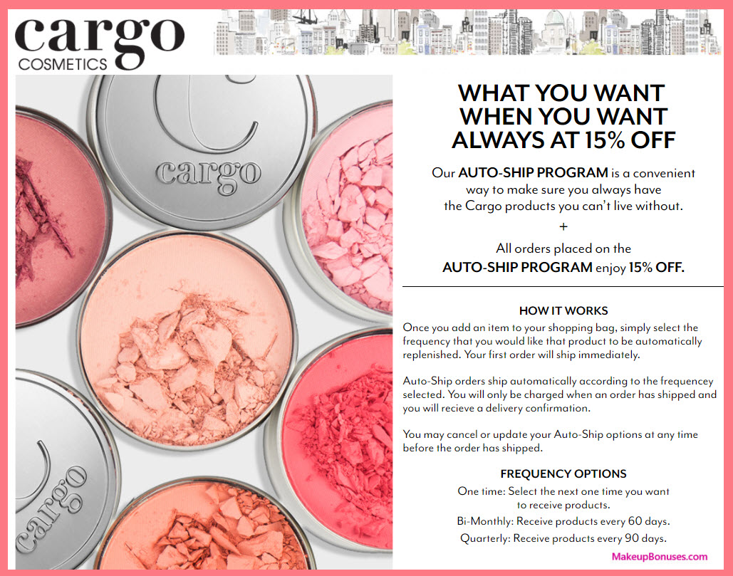 Cargo Cosmetics Auto Delivery Service - MakeupBonuses.com