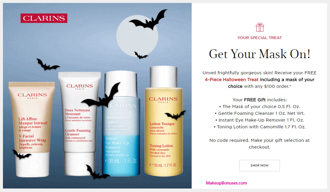 Receive a free 4-pc gift with your $100 Clarins purchase