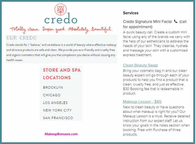 Credo Beauty Services - MakeupBonuses.com