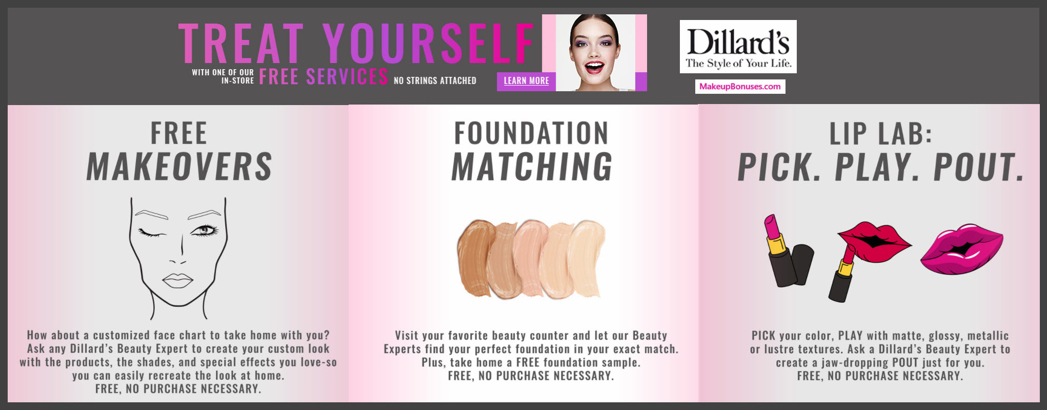 Dillard's Free Beauty Services - MakeupBonuses.com