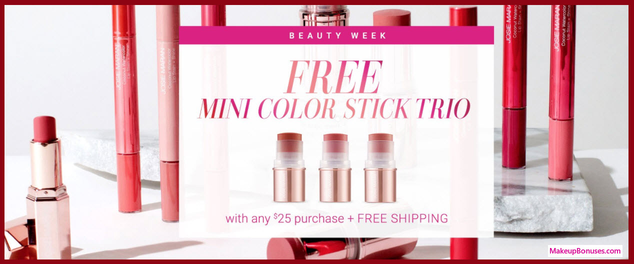 Receive a free 3-pc gift with your $25 Josie Maran purchase