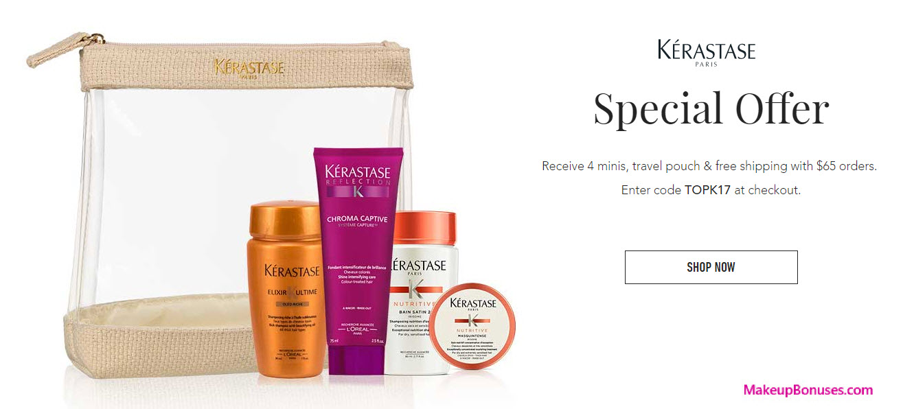 Receive a free 5-pc gift with your $65 Kérastase purchase
