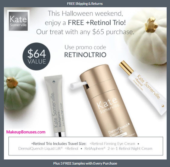 Receive a free 3-pc gift with your $65 Kate Somerville purchase