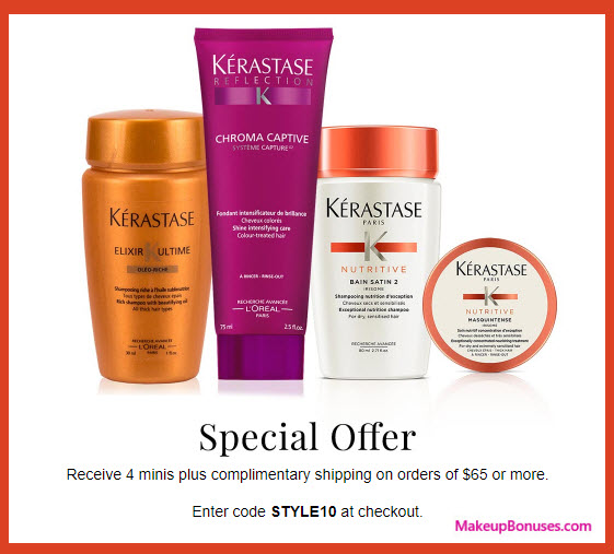 Receive a free 4-pc gift with your $65 Kérastase purchase