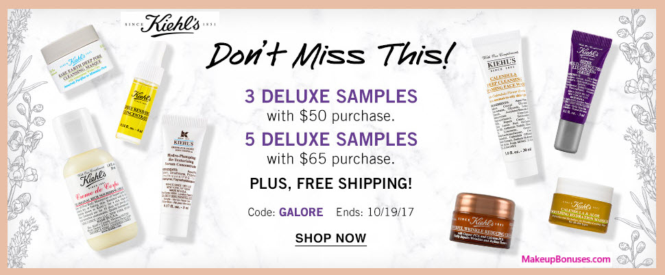 Receive a free 5-pc gift with your $65 Kiehl's purchase