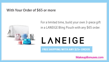 Receive your choice of 4-pc gift with your $65 LANEIGE purchase