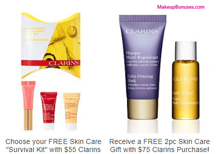 Receive a free 3-pc gift with your $55 Clarins purchase