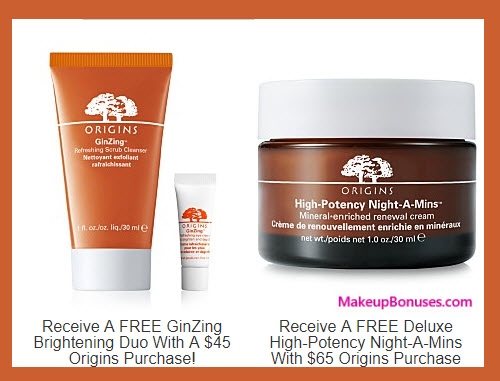 Receive a free 3-pc gift with your $65 Origins purchase
