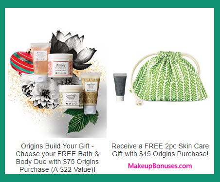 Receive a free 4-pc gift with your $75 Origins purchase
